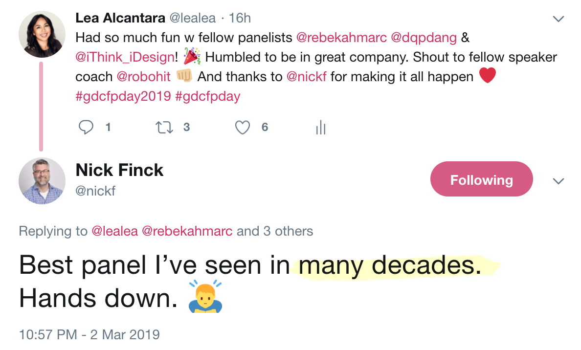 Tweet from Nick Finck about the panel I moderated