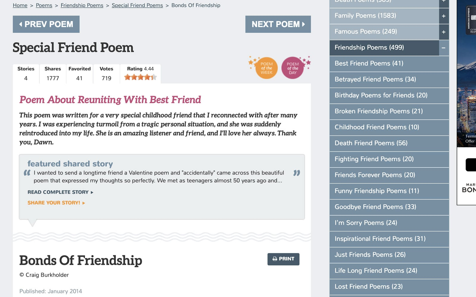 Screenshot of Poem page for Family Friend Poems