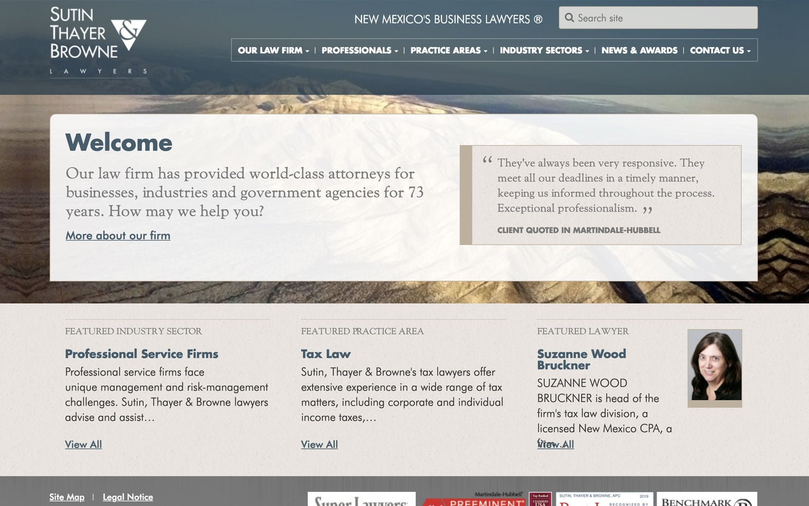 Screenshot of Sutin, Thayer & Browne Homepage